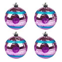 Karácsonyfadísz, gömb, pink-türkiz, 7 cm, 4 db/doboz
