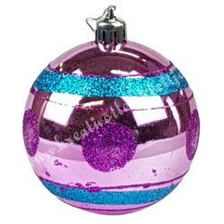 Karácsonyfadísz, gömb, pink-türkiz, 7 cm