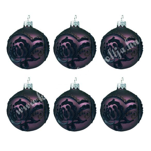 Karácsonyfadísz, gömb, padlizsán lila, 7 cm, 6 db/doboz