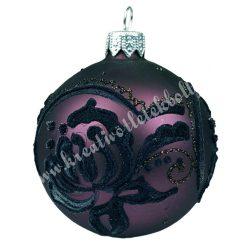 Karácsonyfadísz, gömb, padlizsán lila, 7 cm