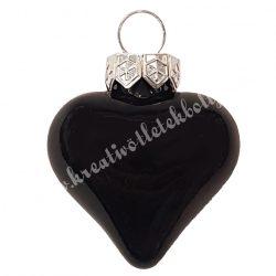 Akasztós üvegszív, fekete, fényes, 4 cm