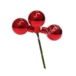 Karácsonyfadísz, gömb, piros, 2,5 cm, 3 db/csokor