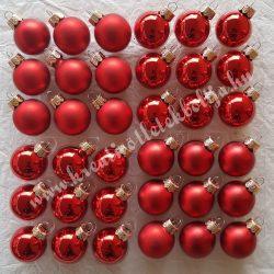 Karácsonyfadísz, gömb, piros, 3 cm, 36 db/doboz