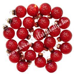 Karácsonyfadísz, gömb, átlátszó piros, 2,5 cm, 24 db/doboz