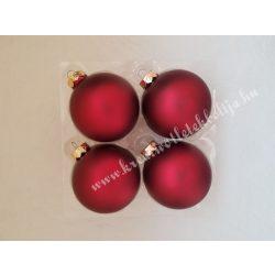 Karácsonyfadísz, gömb, bordó, 8 cm, 16 darab