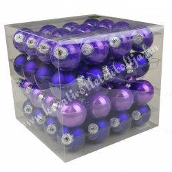 Karácsonyfadísz, üveggömb, viola lila, fényes/matt, 4 cm, 64 db/doboz