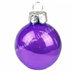 Karácsonyfadísz, üveggömb, viola lila, fényes, 4 cm