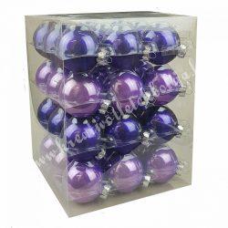 Karácsonyfadísz, üveggömb, viola lila, fényes/matt, 5,7 cm, 36 db/doboz