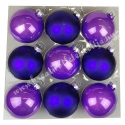Karácsonyfadísz, üveggömb, viola lila, fényes/matt, 10 cm, 9 db/doboz