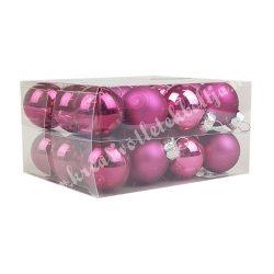 Karácsonyfadísz, üveggömb, világos-, sötétpink, 2,5 cm, 24 db/doboz