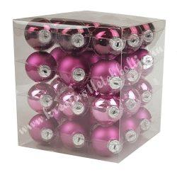 Karácsonyfadísz, üveggömb, világos-, sötétpink, matt/fényes, 3 cm, 36 db/doboz