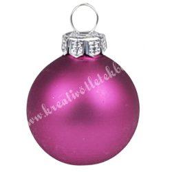 Karácsonyfadísz, üveggömb, világospink, matt, 3 cm