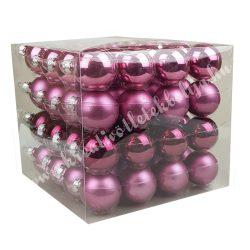 Karácsonyfadísz, üveggömb, világos-, sötétpink, 4 cm, 64 db/doboz