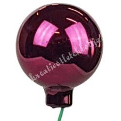 Betűzős üveggömb, sötétpink, fényes, 4 cm