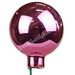 Betűzős üveggömb, világos pink, fényes, 4 cm