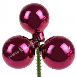 Betűzős üveggömb, sötét rosé, fényes, 2,5 cm, 3 db/szett