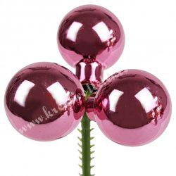 Betűzős üveggömb, világos rosé, fényes, 2,5 cm, 3 db/szett