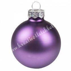 Karácsonyfadísz, üveggömb, padlizsán lila, matt, 5,7 cm
