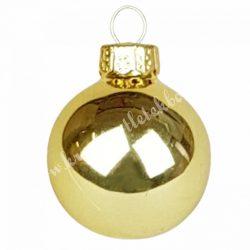 Karácsonyfadísz, üveggömb, arany, 3 cm