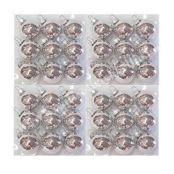 Karácsonyfadísz, gömb, ezüst, 4 cm, 36 darab