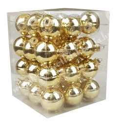 Karácsonyfadísz, gömb, arany, 4 cm, 36 db/doboz