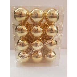 Karácsonyfadísz, üveggömb, arany, fényes, 5,7 cm
