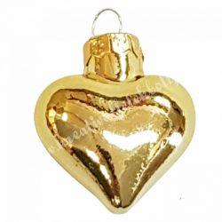 Szív alakú dísz, arany, 4 cm
