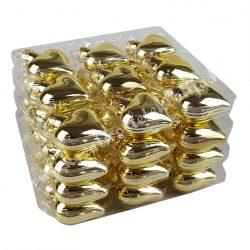 Szív alakú dísz, arany, 36 db/doboz