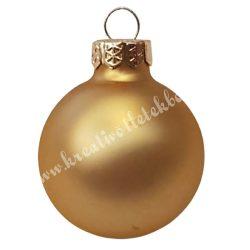 Karácsonyfadísz, üveggömb, matt arany, 4 cm