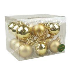 Karácsonyfadísz, üveggömb, arany, matt/fényes, 18 db/doboz, 4 cm