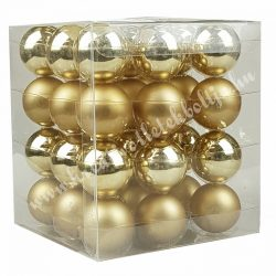 Karácsonyfadísz, üveggömb, arany, matt/fényes, 36 db/doboz, 5,7 cm