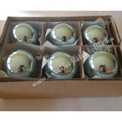 Karácsonyfadísz, gömb, jégkék, 8 cm, 6 darab/doboz