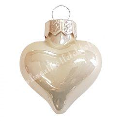 Akasztós üvegszív, pezsgő, fényes, 4 cm