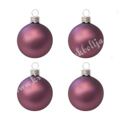 Karácsonyfadísz, gömb, lila, 10 cm, 4 darab