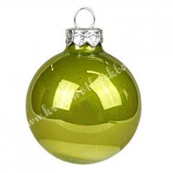 Karácsonyfadísz, üveggömb, világos oliva, fényes, 4 cm