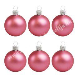 Karácsonyfadísz, üveggömb, pink, matt, 8 cm, 6 db/doboz