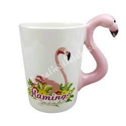 Kerámia bögre, flamingó füllel