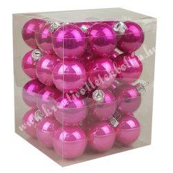 Karácsonyfadísz, üveggömb, élénk pink-pink, 3 cm, 36 db/doboz