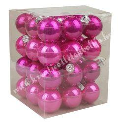 Karácsonyfadísz, üveggömb, élénk pink-pink, 4 cm, 36 db/doboz