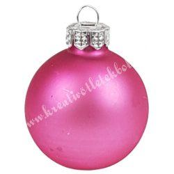 Karácsonyfadísz, üveggömb, flamingó rózsaszín, matt, 4 cm