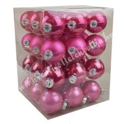 Karácsonyfadísz, üveggömb, flamingó rózsaszín, matt/fényes, 5,7 cm, 36 db/doboz