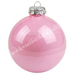 Karácsonyfadísz, üveggömb, púder rózsaszín, fényes, 2,5 cm