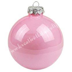 Karácsonyfadísz, üveggömb, púder rózsaszín, fényes, 8 cm