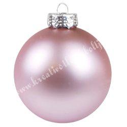 Karácsonyfadísz, üveggömb, púder rózsaszín, matt, 8 cm