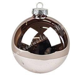 Karácsonyfadísz, üveggömb, smokey rose, fényes, 10 cm