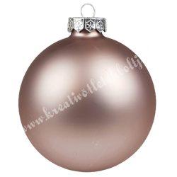 Karácsonyfadísz, üveggömb, smokey rose, matt, 10 cm