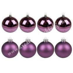 Karácsonyfadísz, gömb, padlizsán lila, matt/fényes, 7 cm, 8 db/doboz