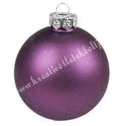 Karácsonyfadísz, gömb, padlizsán lila, matt, 7 cm