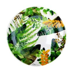 Kerámia lapos tányér, 19 cm, trópusi leveles