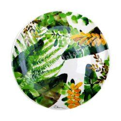 Kerámia lapos tányér, 27 cm, trópusi leveles